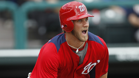 Nats wunderkind Bryce Harper slugged 17 homers across two levels in '11.